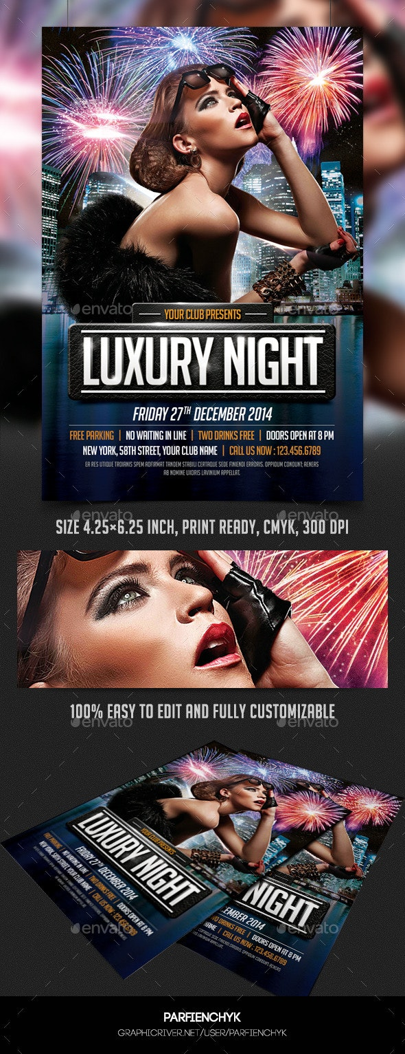 Luxury Night Party Flyer Template - Clubs & Parties Events