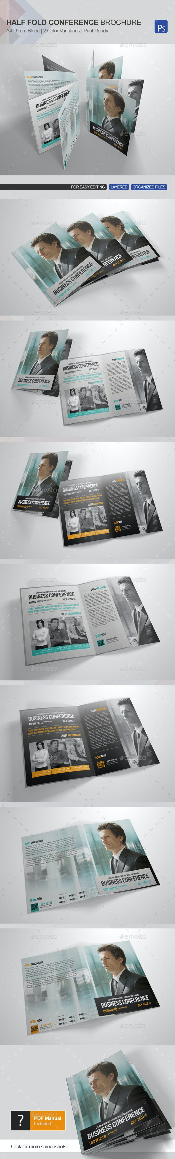 Half-fold Business Conference Brochure Template - Corporate Brochures