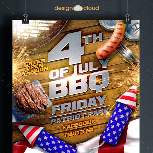 July 4th BBQ Flyer Template