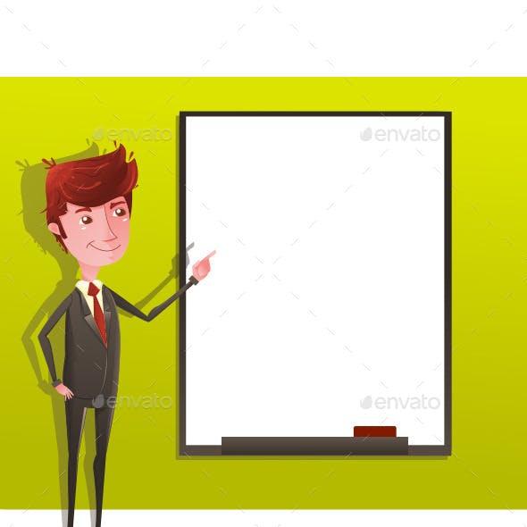Businessman Pressentation with White Board