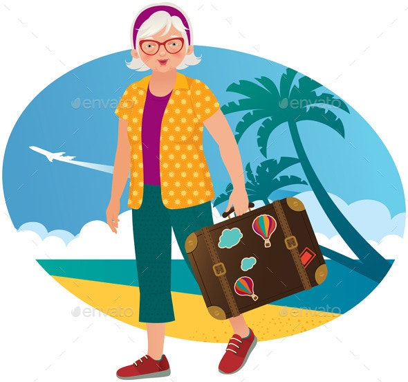 Elderly Lady Travels - Travel Conceptual