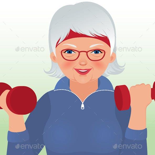 Elderly Woman doing Fitness
