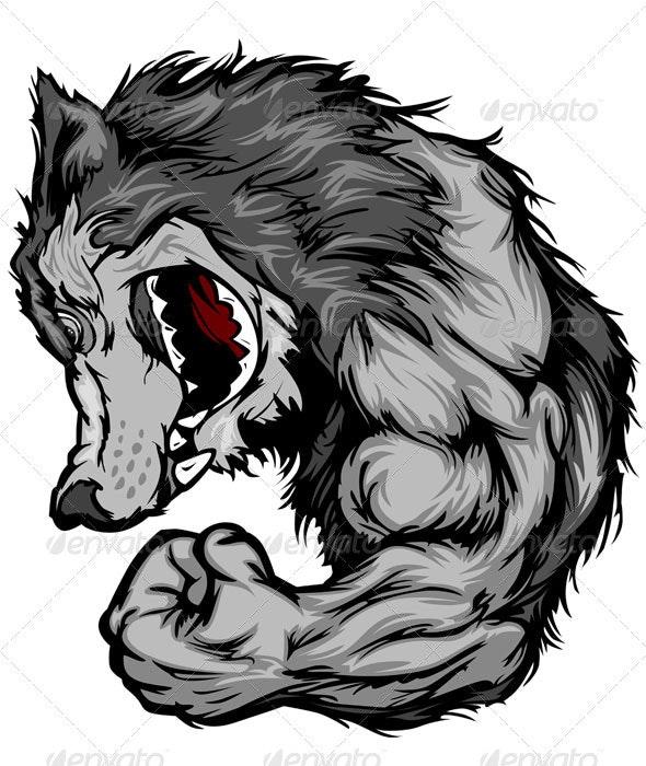 Wolf Mascot Flexing Arm Vector Cartoon - Animals Characters