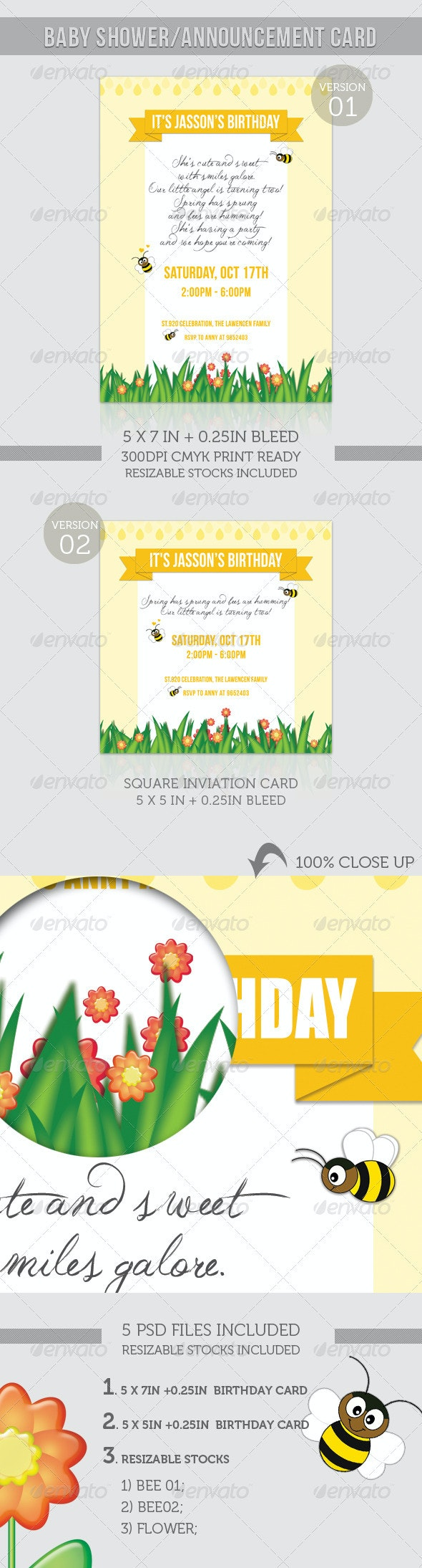 Birthday Invitation - Spring Humming Bee - Birthday Greeting Cards