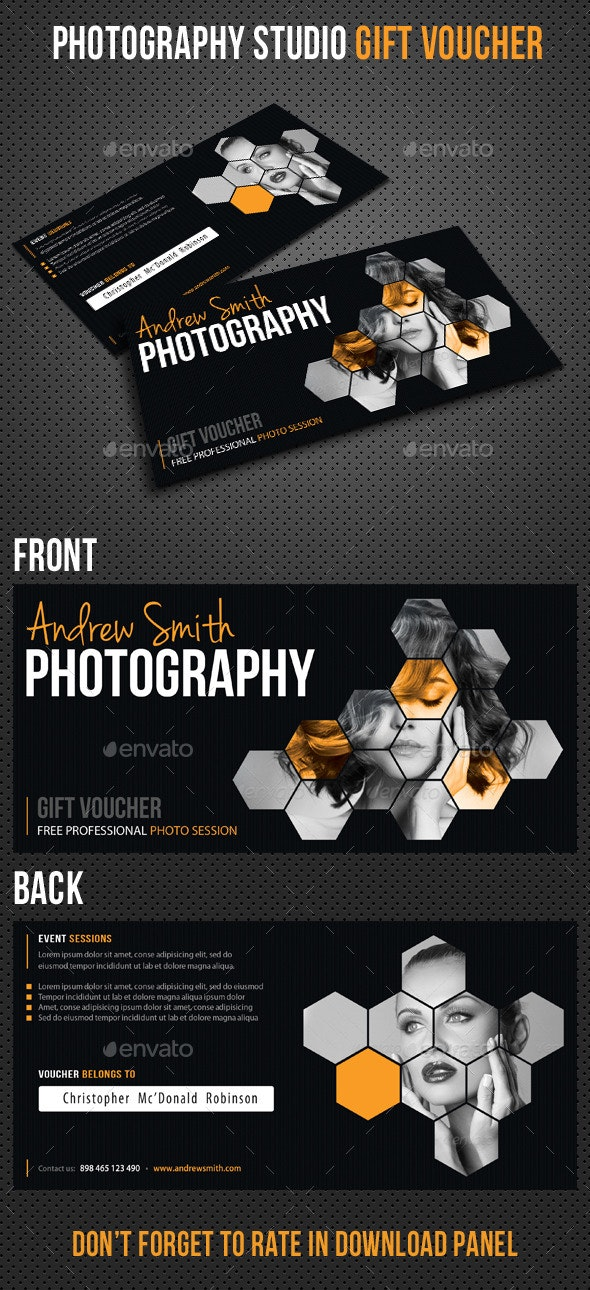 Photography Studio Gift Voucher - Cards & Invites Print Templates