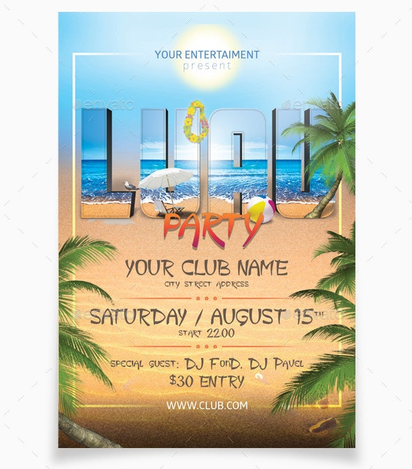 Luau Party - Flyers Print Templates