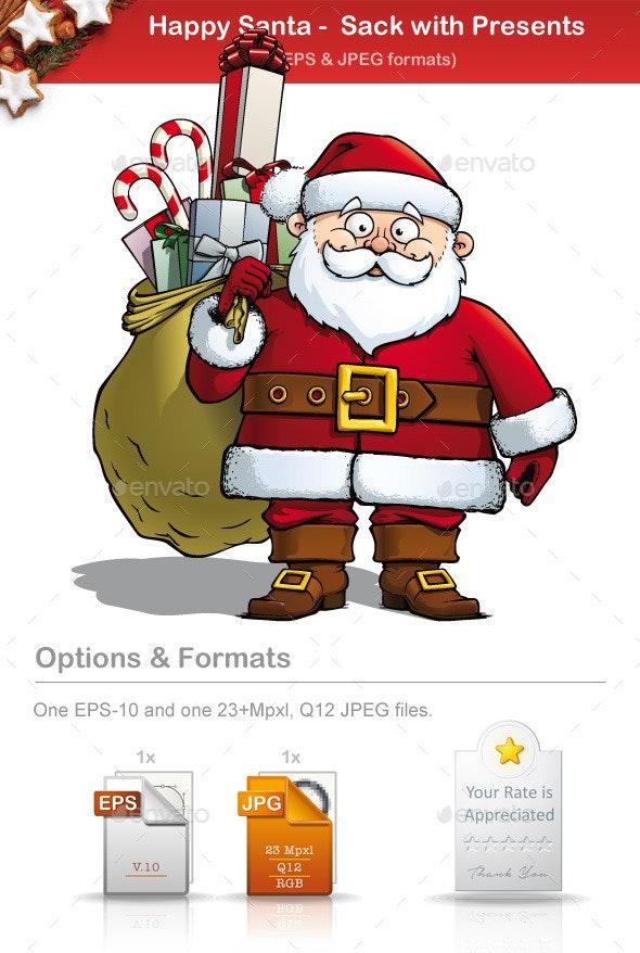 Happy Santa - Sack with Presents - People Characters