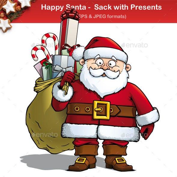 Happy Santa - Sack with Presents