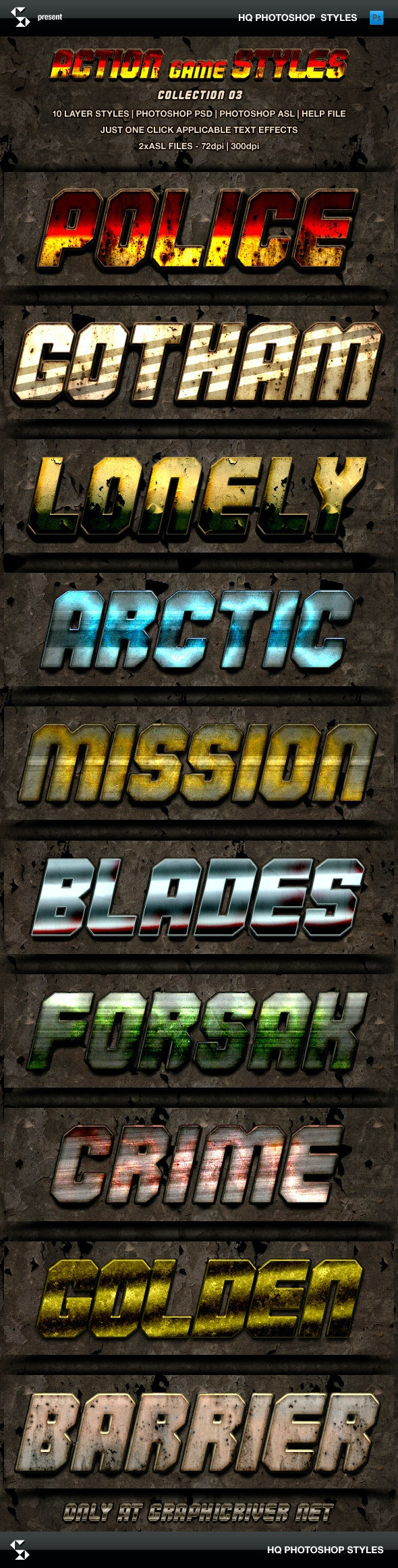 Action Game Styles - Collection 3 - Text Effects Styles