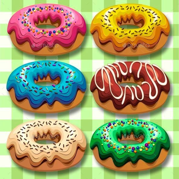 Donuts 6 Flavours Set - Food Objects