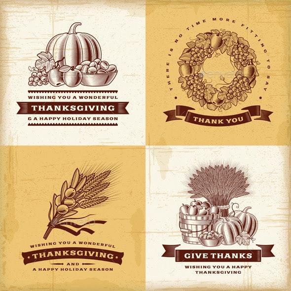 Vintage Thanksgiving Labels Set - Decorative Symbols Decorative