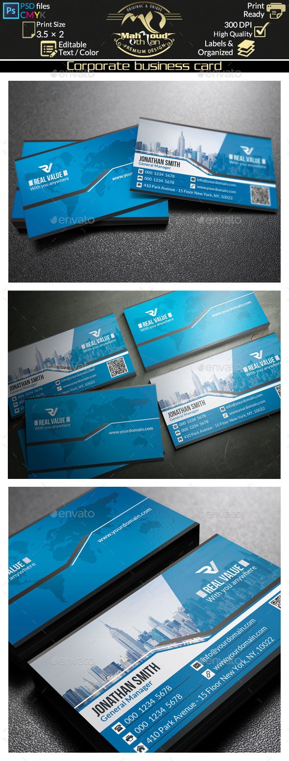 Modern Blue Business Card 45 - Corporate Business Cards