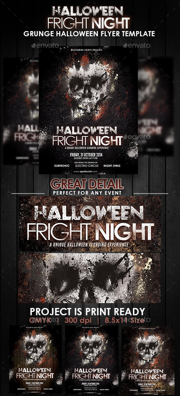 Halloween Fright Night Grunge Flyer Template - Clubs & Parties Events