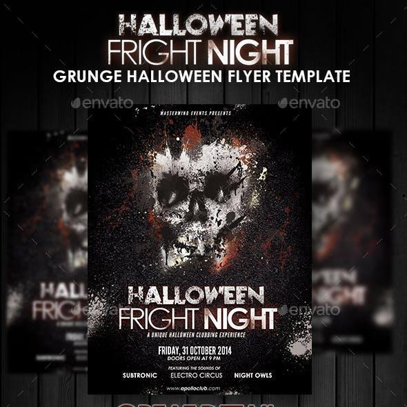 Halloween Fright Night Grunge Flyer Template