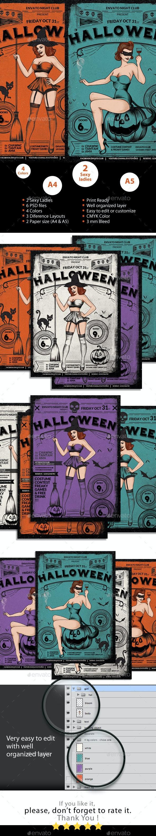 Halloween Sexy Vintage Grunge Flyer - Holidays Events