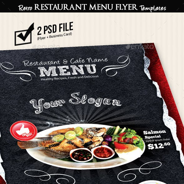 Restaurant Menu Flyer Templates Vintage Texture v2