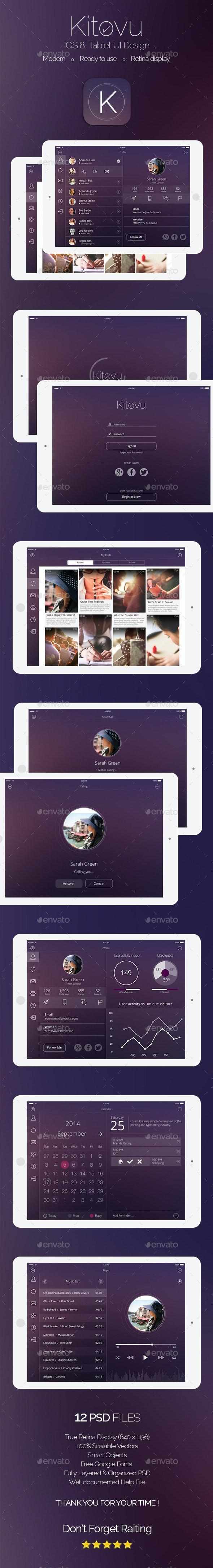 Kitovu IOS 8 Tablet Design  - User Interfaces Web Elements