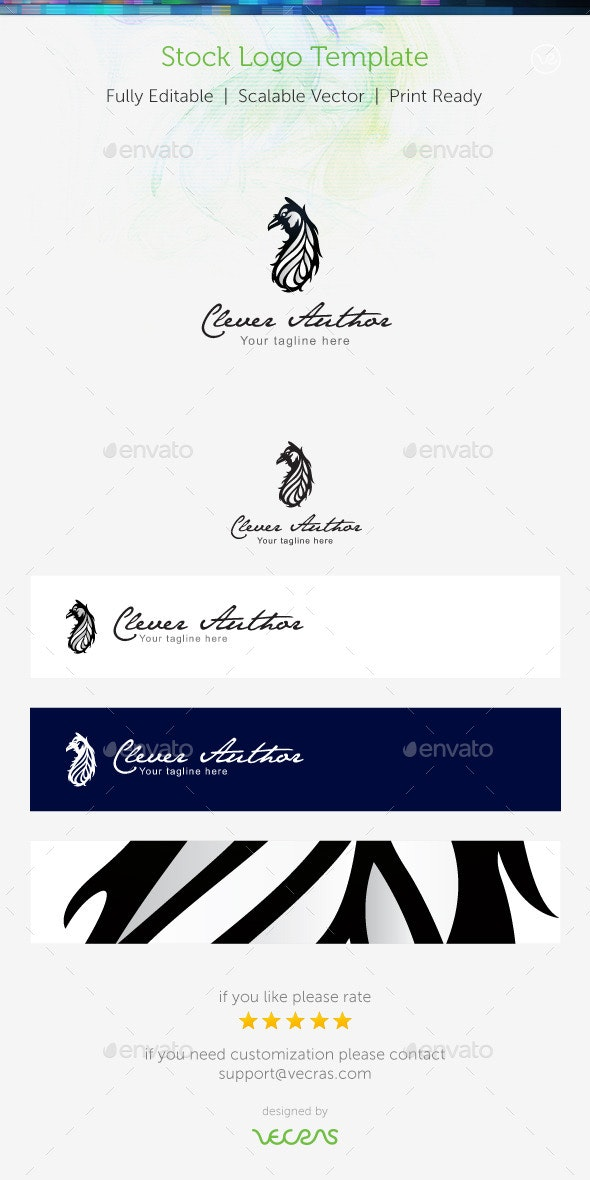 Clever Author Logo Template  - Animals Logo Templates