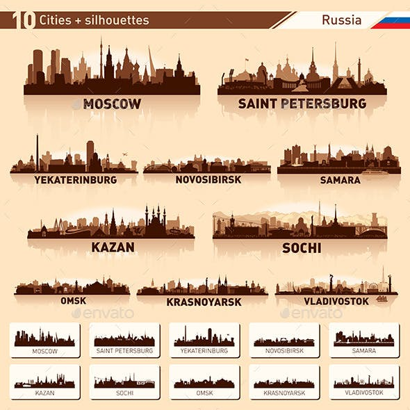 City Skyline Set. Russia. Vector Silhouettes