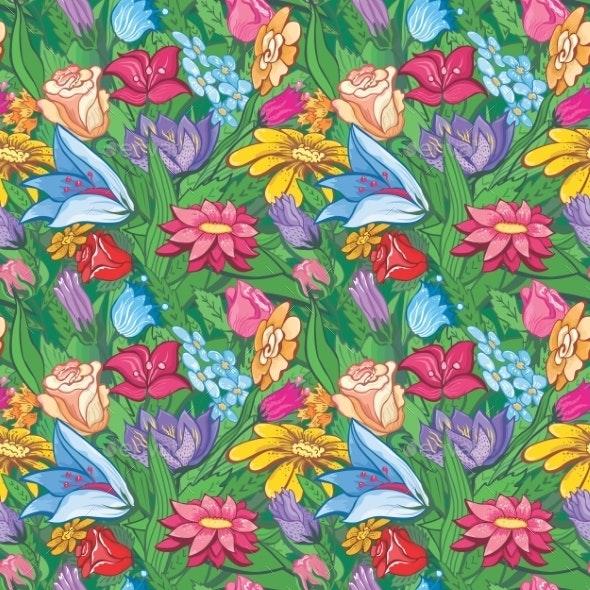 Vintage Bright Floral Pattern - Flowers & Plants Nature