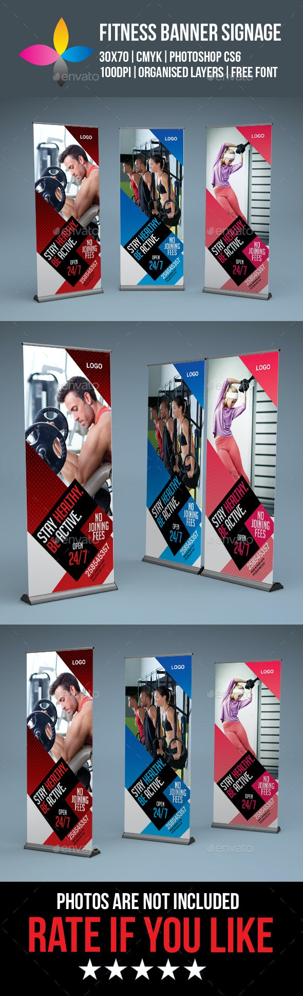Fitness Roll Up Banner Signage - Signage Print Templates