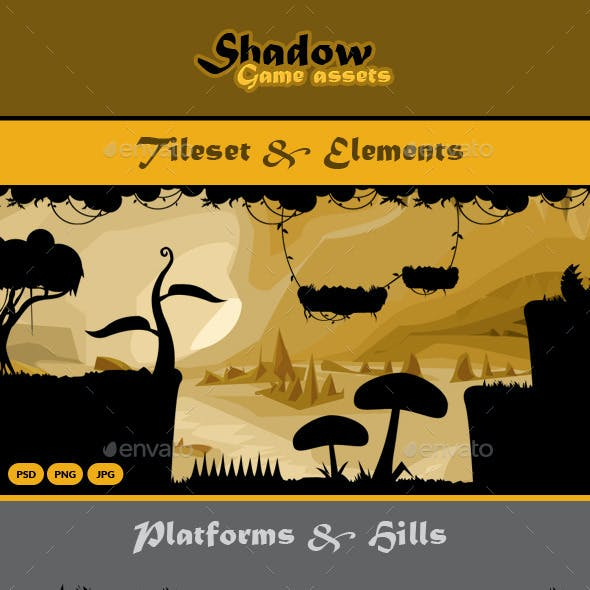 Shadow Game Assets: Tileset & Obstacles