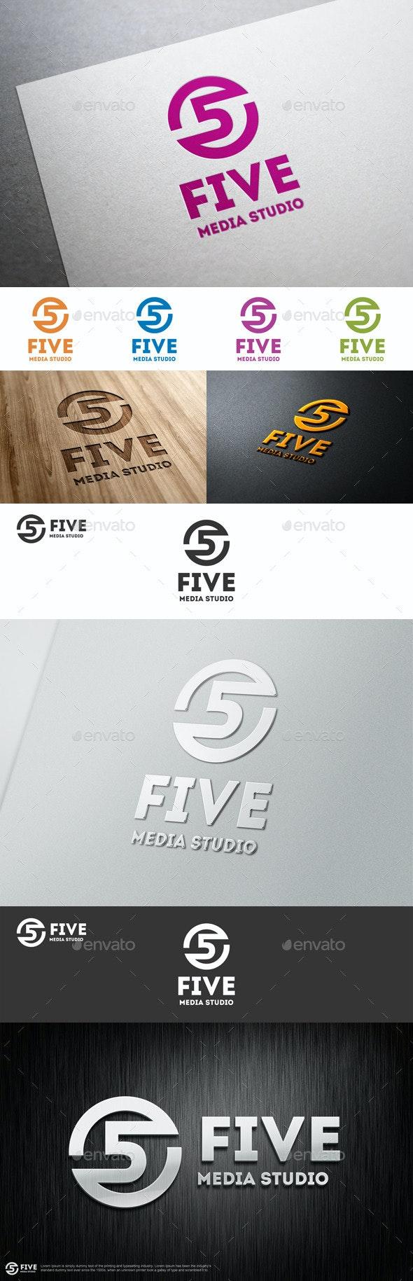 Five Media Studio Logo Template - Numbers Logo Templates