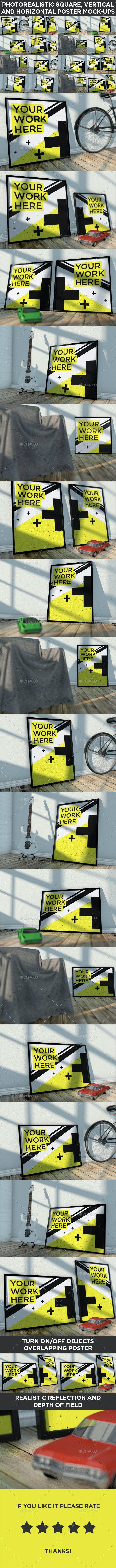 16 Realistic Poster Mock-Ups Vol.1 - Posters Print