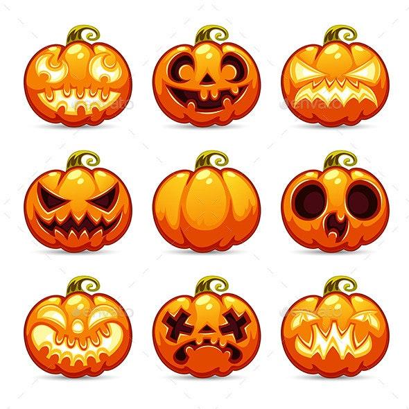 Halloween Cartoon Pumpkins Icons Set - Halloween Seasons/Holidays