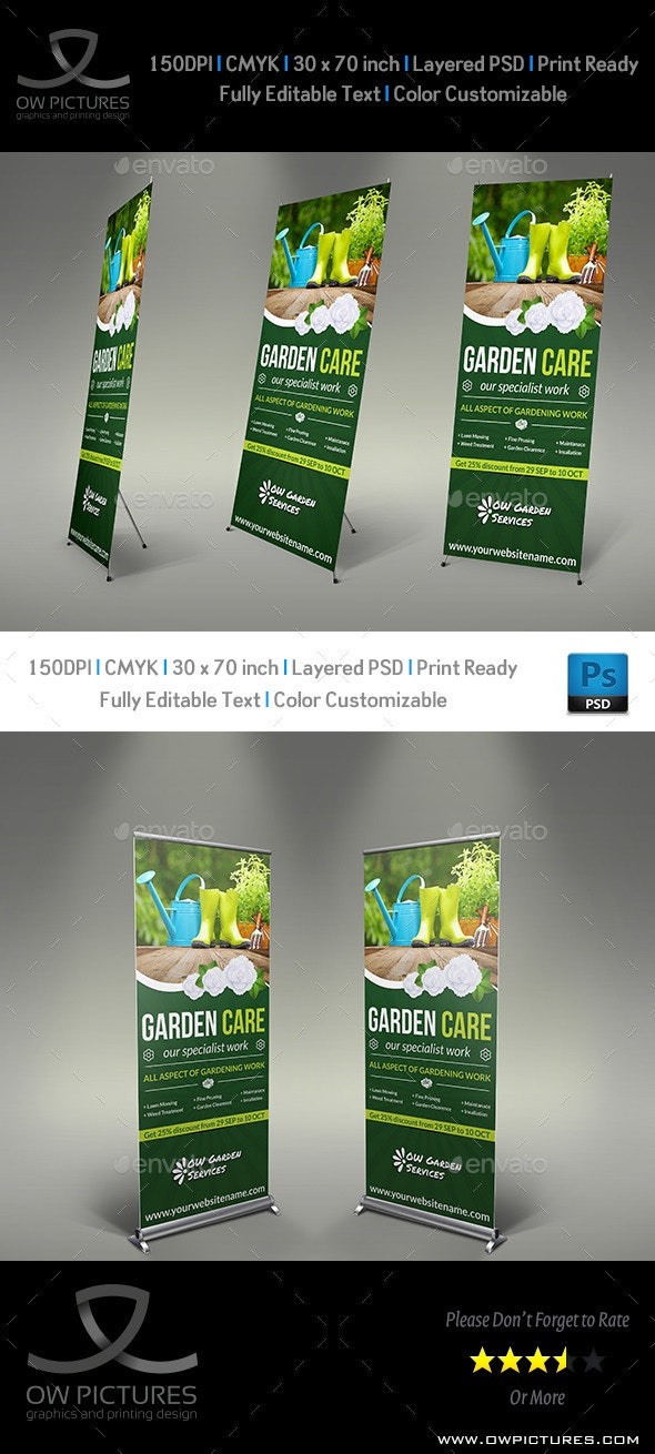 Garden Signage Roll-Up Banner Template - Signage Print Templates