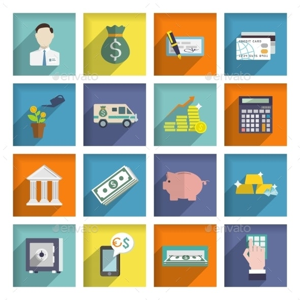 Bank Service Icons Flat Set - Industries Business