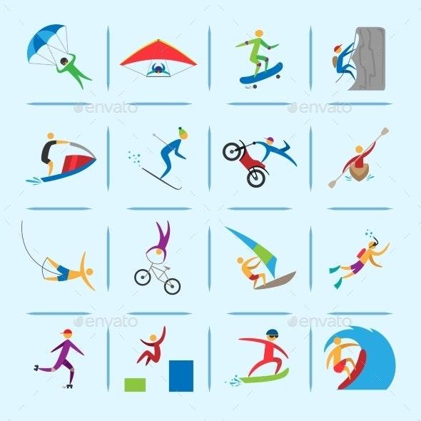 Extreme Sports Icons Set - Sports/Activity Conceptual