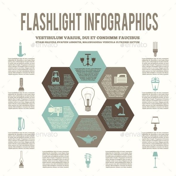 Flashlight and Lamps Flat Infographic - Web Technology
