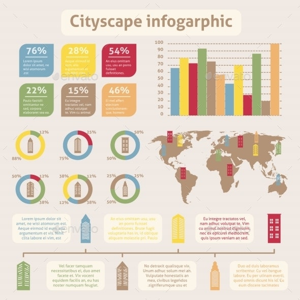 Cityscape Icons Infographic - Buildings Objects