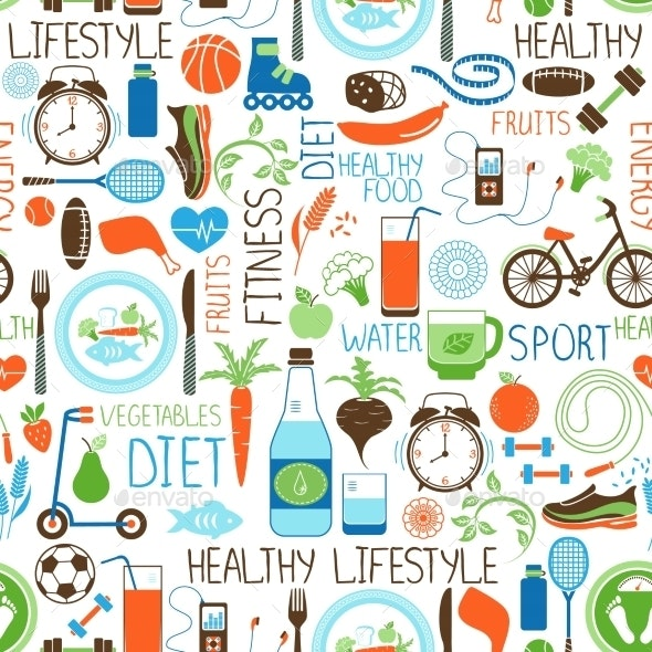 Sport, Diet and Fitness Pattern - Backgrounds Decorative