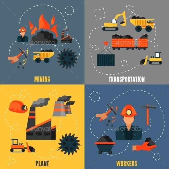 Coal Industry Flat Set - Industries Business