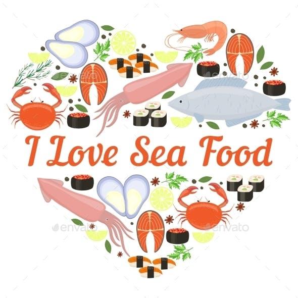 I Love Seafood Vector Heart Design