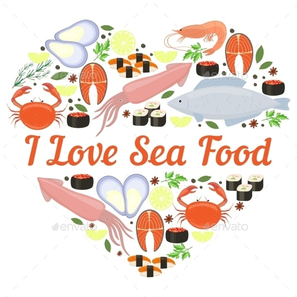 I Love Seafood Vector Heart Design - Organic Objects Objects