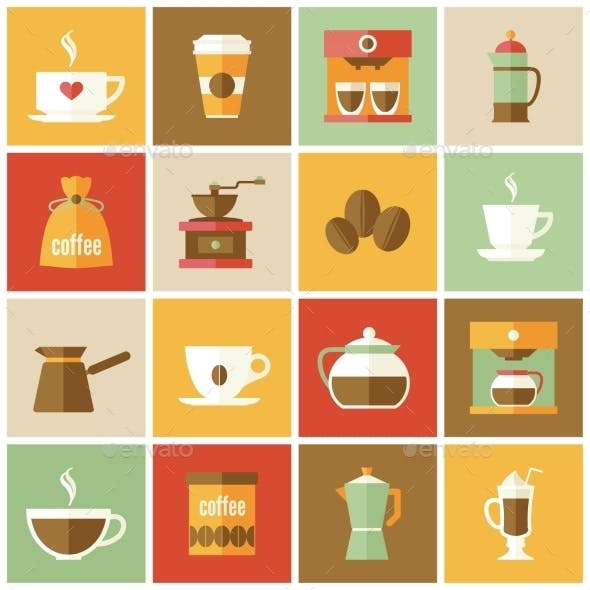 Coffee Icons Flat Set