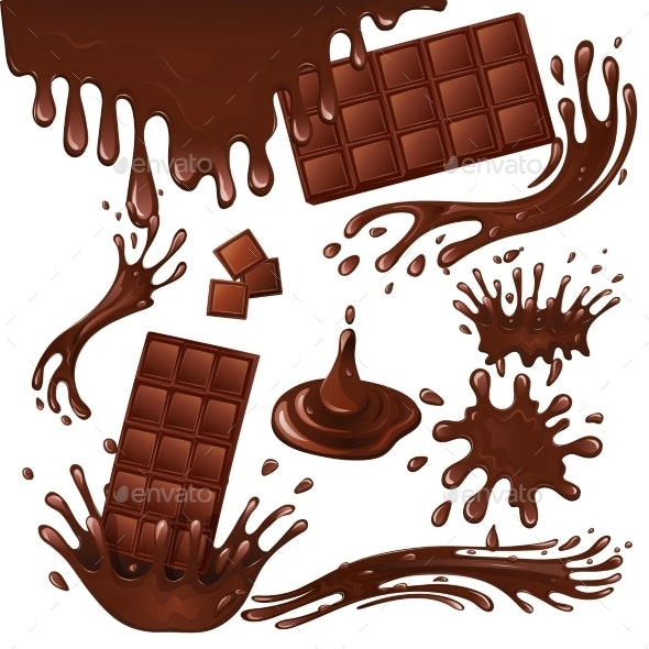 Milk Chocolate Bar and Splashes - Food Objects