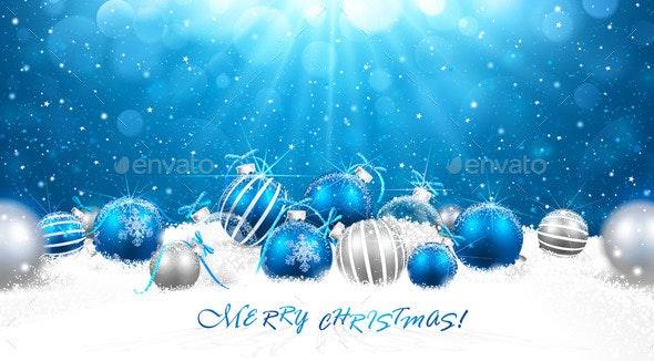 Christmas Balls in Snow - Christmas Seasons/Holidays
