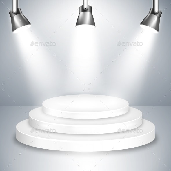 White Stage Platform Illuminated by Spotlights - Miscellaneous Vectors