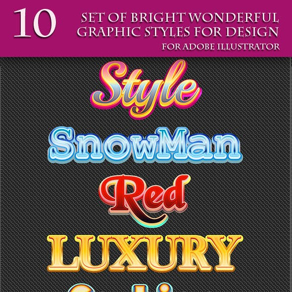 Set of Bright Wonderful Graphic Styles for Design