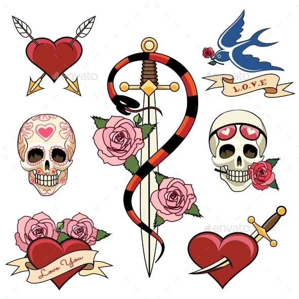 Various Heart Skull and Dagger Tattoo Graphics
