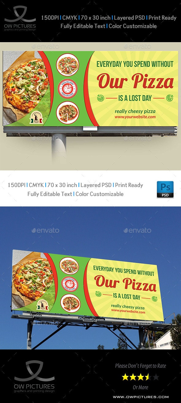 Pizza Restaurant Billboard Template