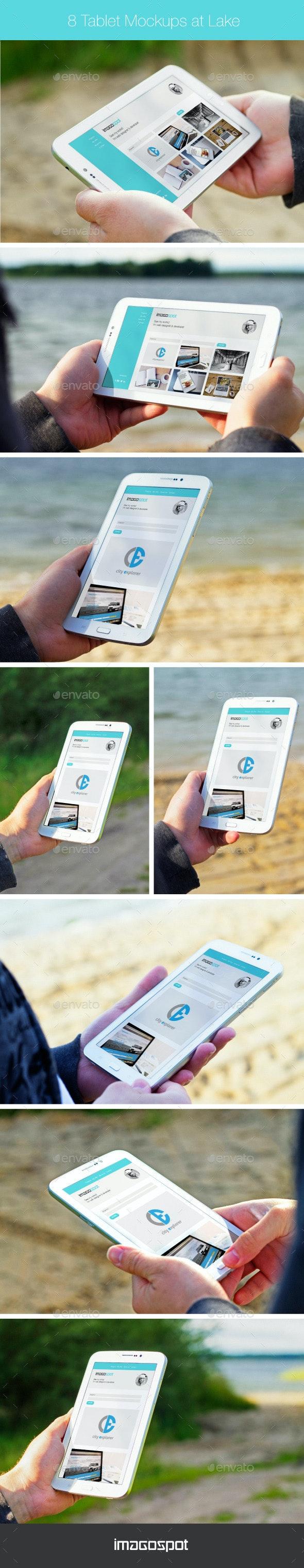 8 Outdoor Tablet Mock-ups in Hand - Mobile Displays