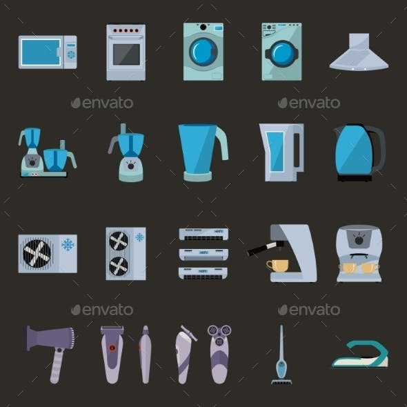Set of Household Appliances Flat Icons