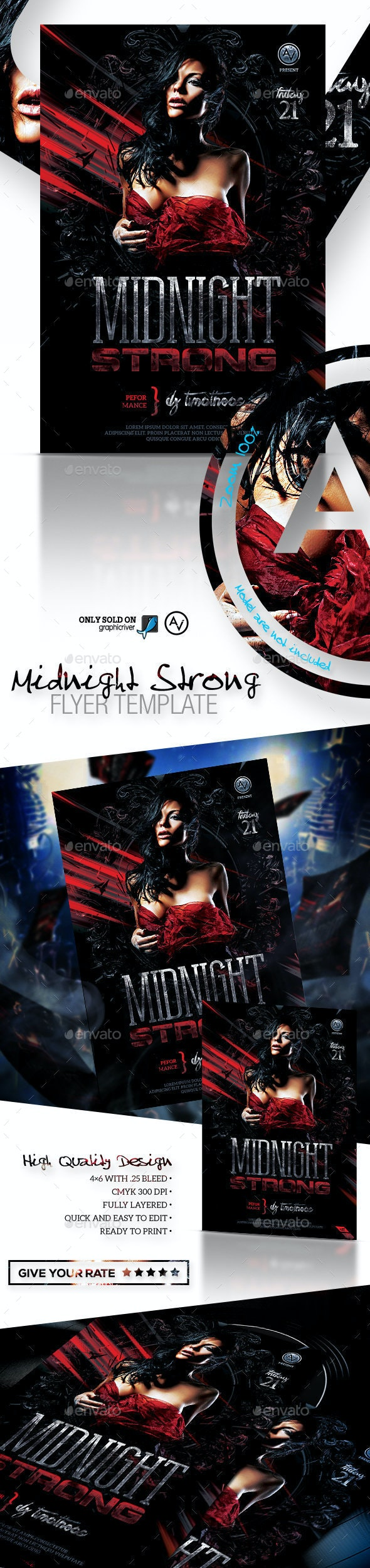 Midnight Strong Flyer Template - Clubs & Parties Events