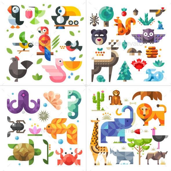 Geometric Flat Animals World - Animals Characters