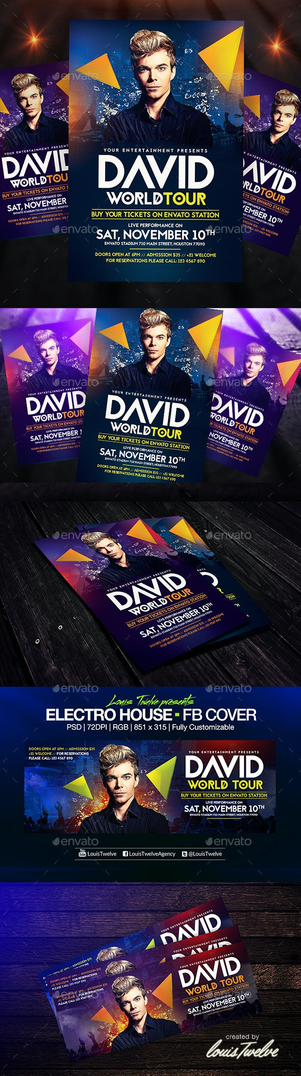 Electro House Flyer Template + FB Cover - Clubs & Parties Events